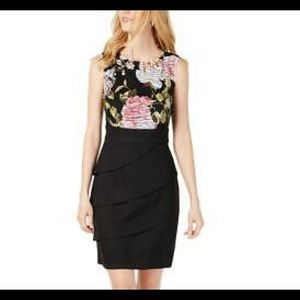 CONNECTED APPAREL Dress Floral S/L Tiered New 14
